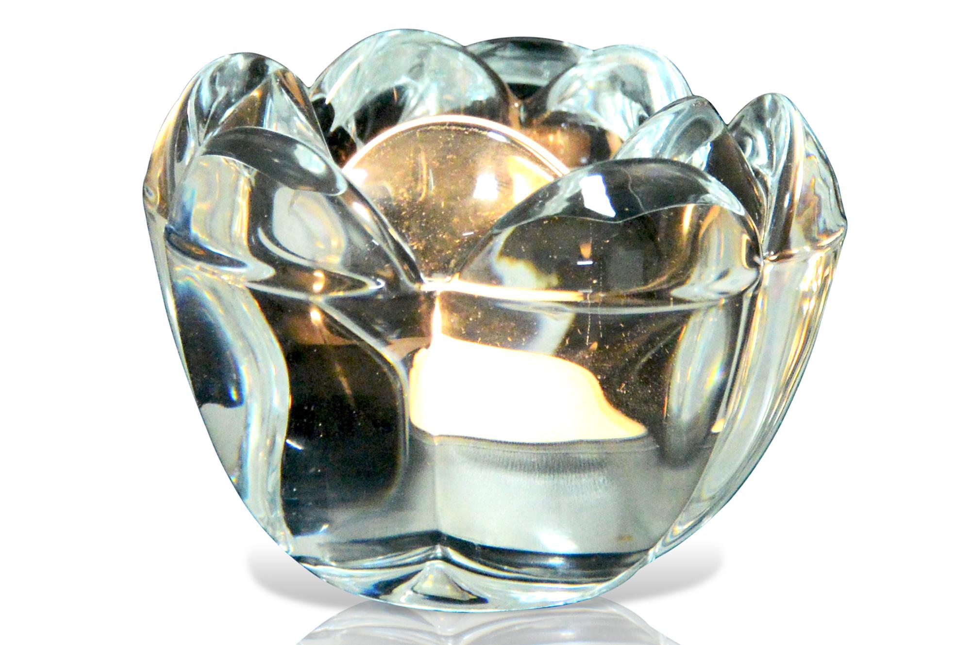 Leuchter F R Teelichter Rose Motiv Glas Solide